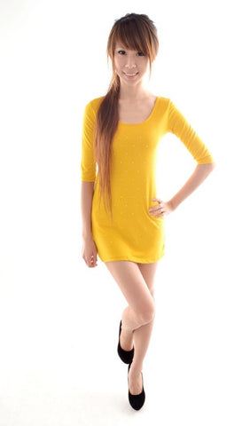 Gold Stud Galaxy bodycon in MUSTARD
