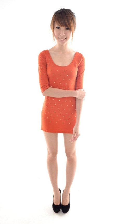 Gold Stud Galaxy bodycon in ORANGE TAN