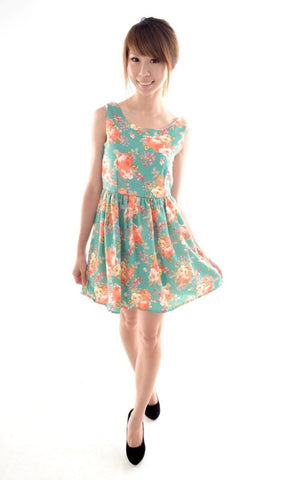 Oriental Floral dress in JADE