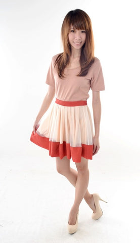 Colourblock Tulle Skirt in ORANGE TAN