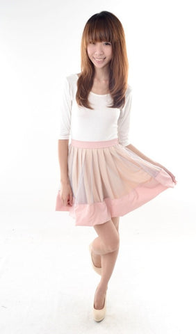 Colourblock Tulle Skirt in BLUSH
