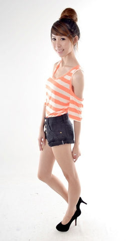 Neon Stripes Cut-out Top in ORANGE