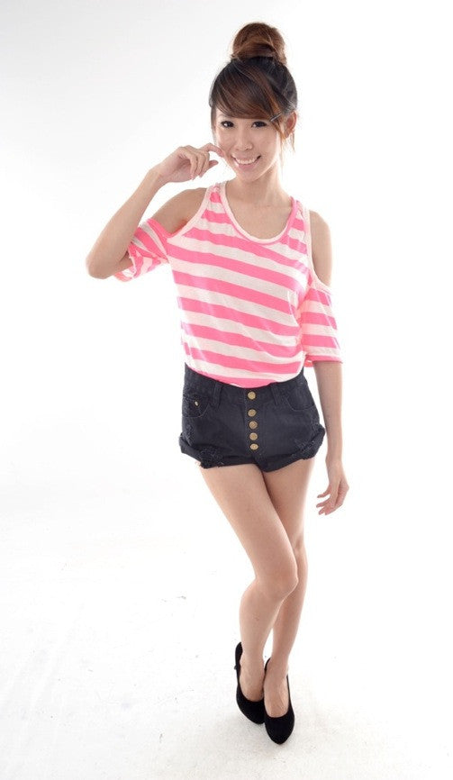 Neon Stripes Cut-out Top in PINK