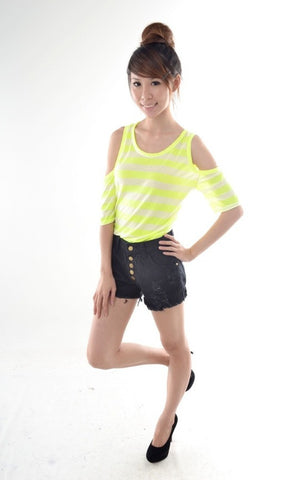 Neon Stripes Cut-out Top in YELLOW