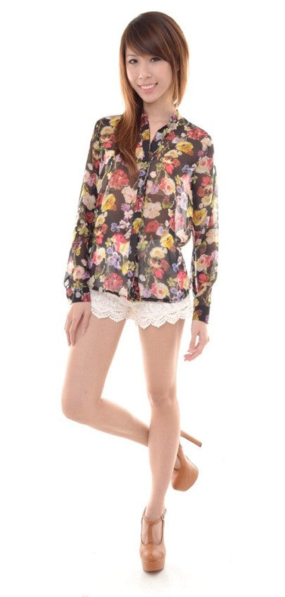 Romancesque Flora Blouse in BLACK