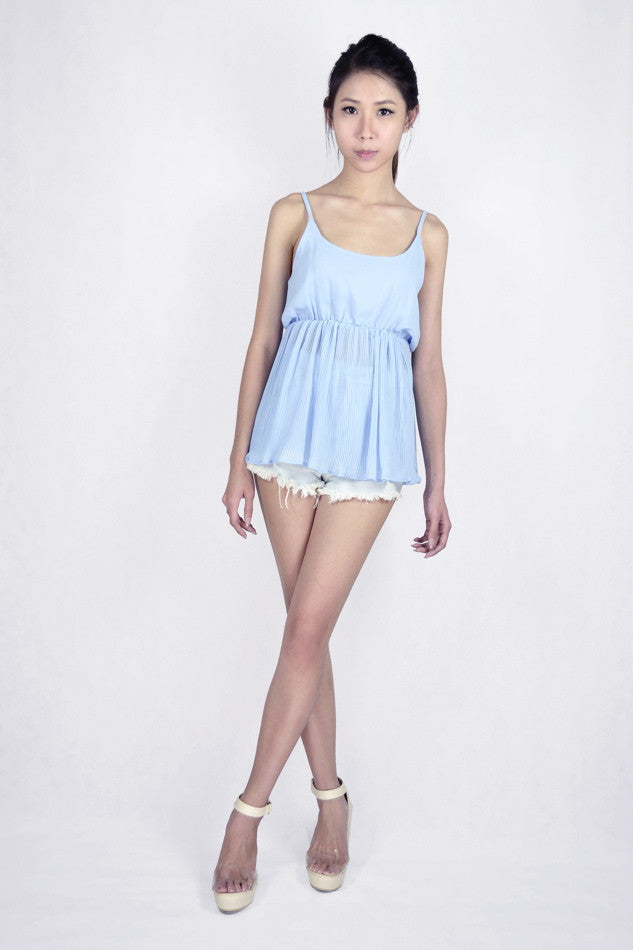 Uli Pleated Babydoll Top in POWDERED BLUE