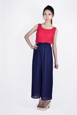 Ana Pleated Smocked Top in RED