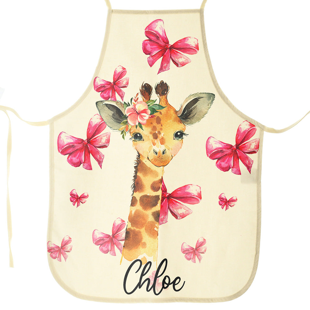 Personalised Giraffe Pink Bows and Name Canvas Apron