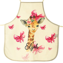Load image into Gallery viewer, Personalised Giraffe Pink Bows and Name Canvas Apron