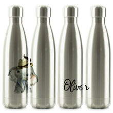 Load image into Gallery viewer, Personalised Grey Elephant Hat and Name Chrome/Silver Cola Bottle