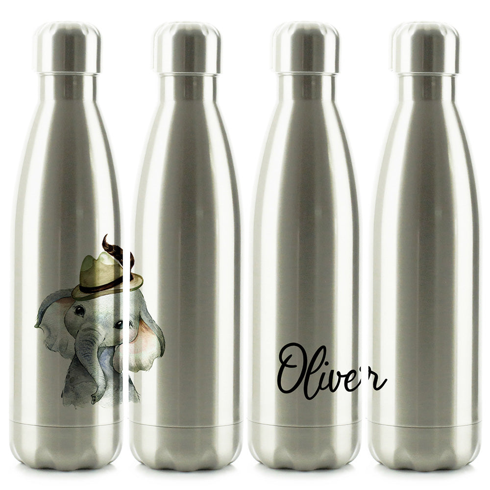 Personalised Grey Elephant Hat and Name Chrome/Silver Cola Bottle
