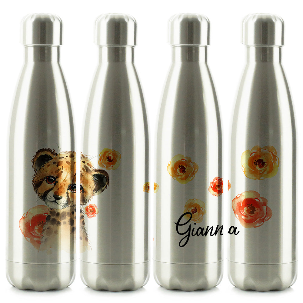 Personalised Leopard Red Flowers and Name Chrome/Silver Cola Bottle
