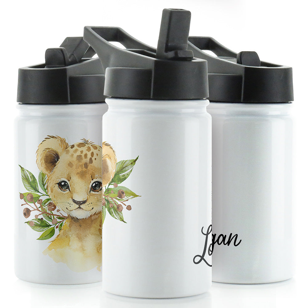 Personalised Lion Cub Olives and Name White Sports Flask