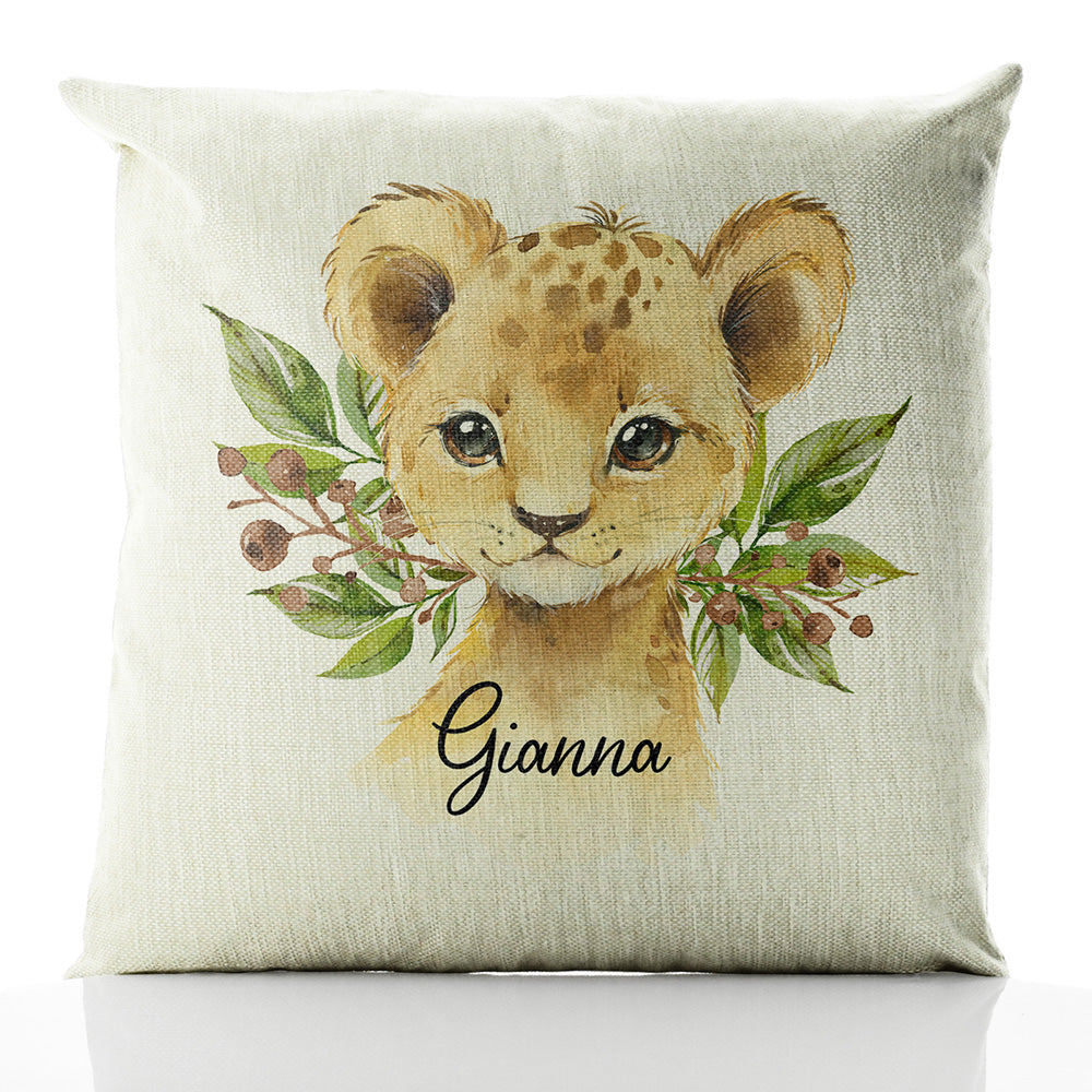 Personalised Lion Olive Branch and Name Beige Linen Square Cushion