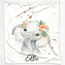 Load image into Gallery viewer, Personalised Elephant Rain Print and Name Baby Blanket