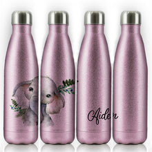 Load image into Gallery viewer, Personalised Elephant Blue Berry and Name Pink Glitter Cola Bottle