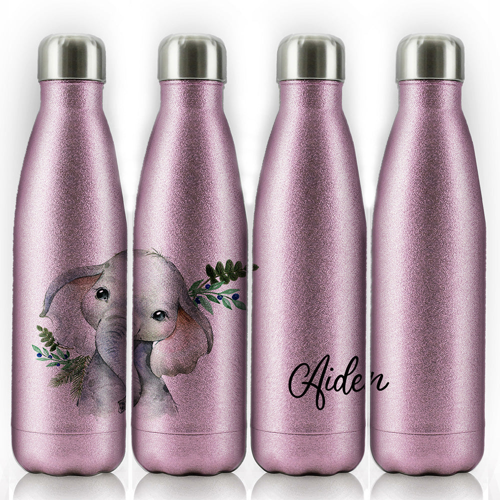 Personalised Elephant Blue Berry and Name Pink Glitter Cola Bottle