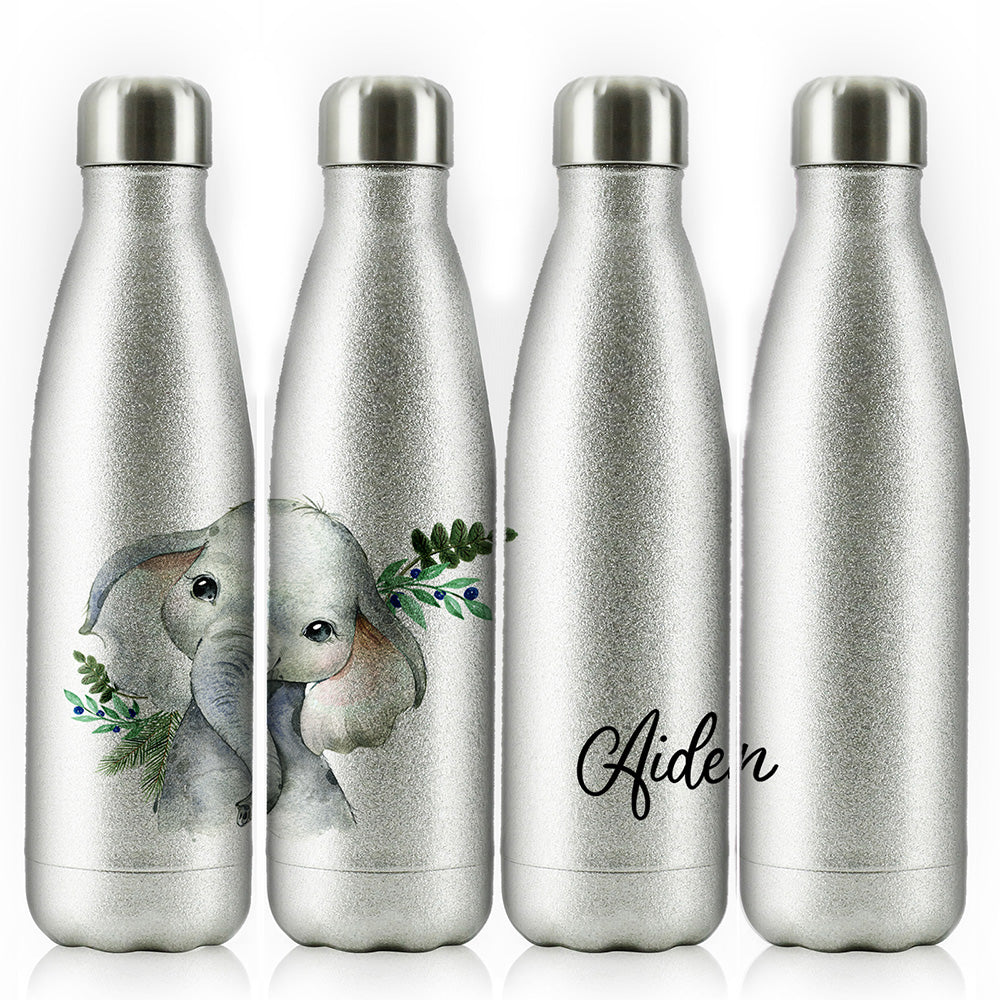 Personalised Elephant Blue Berry and Name Silver Glitter Cola Bottle