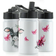 Load image into Gallery viewer, Personalised Cow Pink Bows and Name White Sports Flask