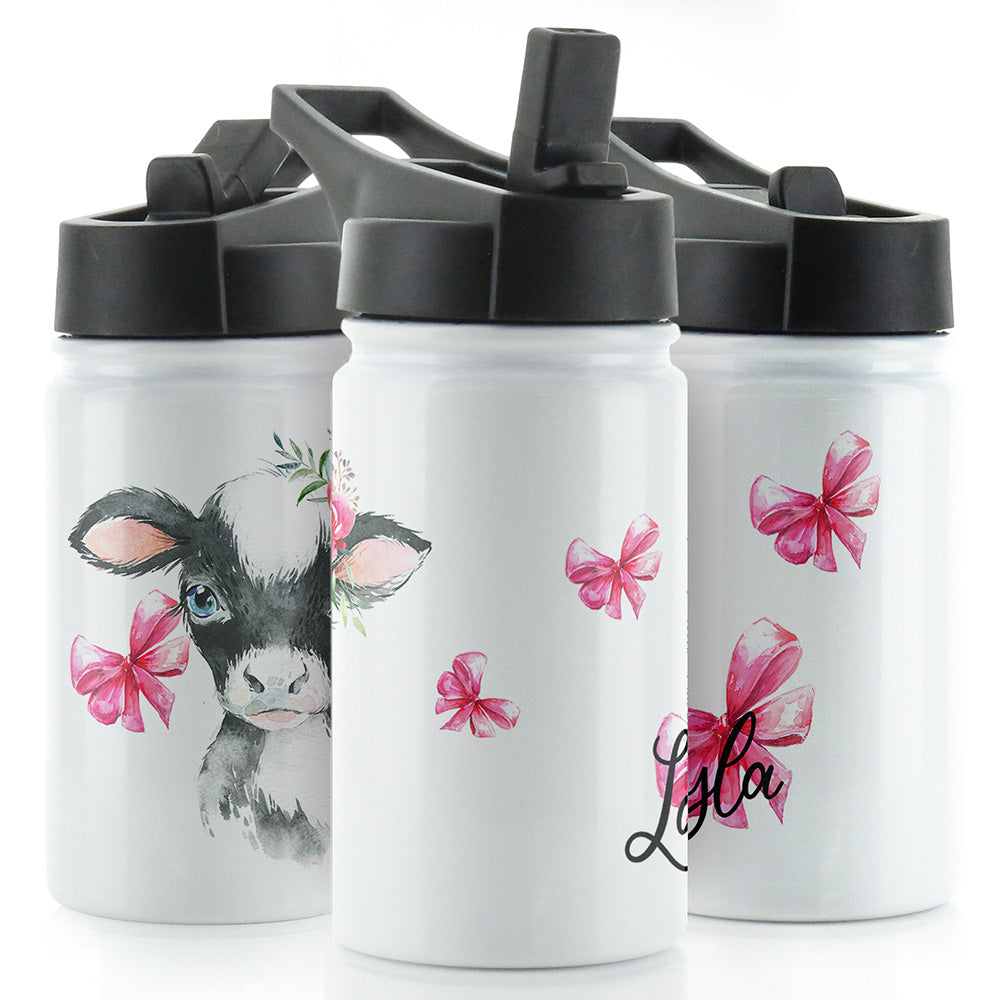Personalised Cow Pink Bows and Name White Sports Flask