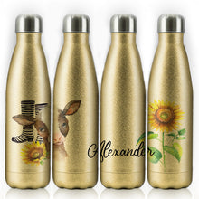 Load image into Gallery viewer, Personalised Cow Yellow Sunflower and Name Gold Glitter Cola Bottle