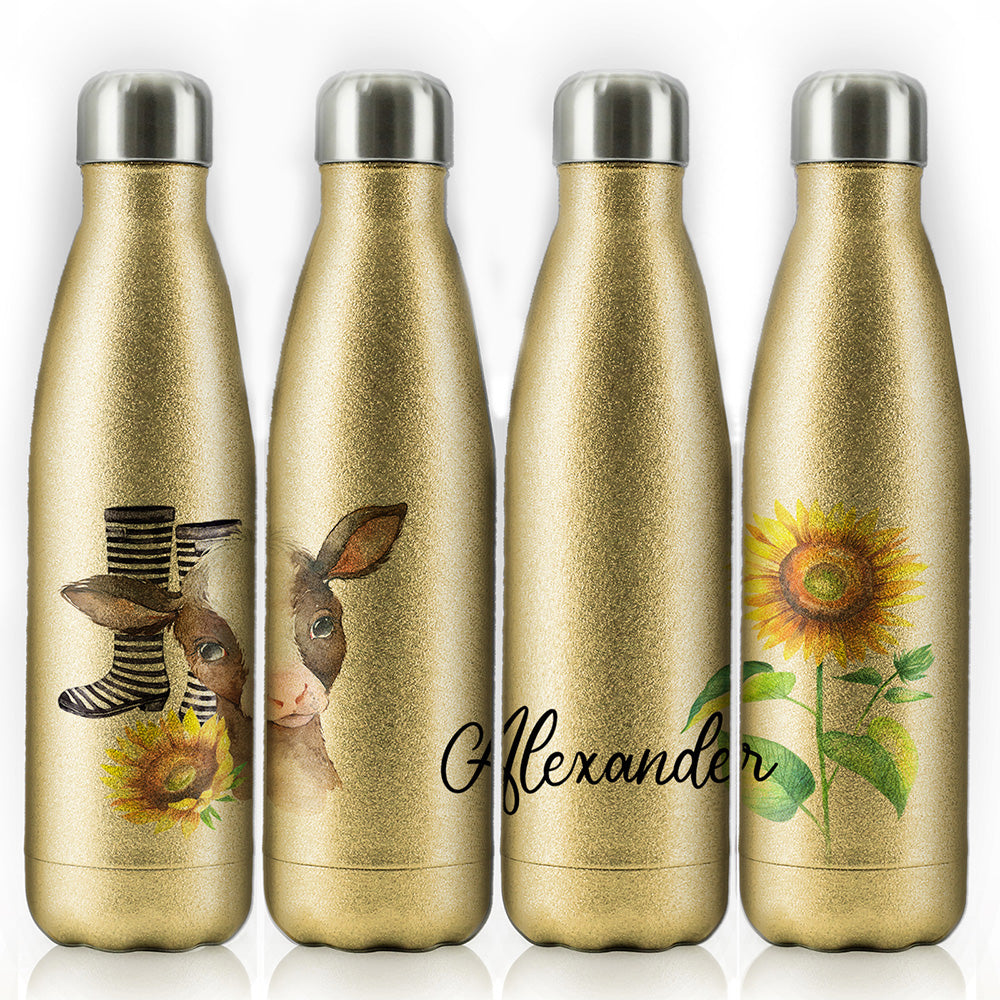 Personalised Cow Yellow Sunflower and Name Gold Glitter Cola Bottle