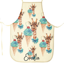 Load image into Gallery viewer, Personalised Giraffe Ice creams and Name Canvas Apron