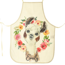 Load image into Gallery viewer, Personalised Alpaca Flowers and Name Canvas Apron