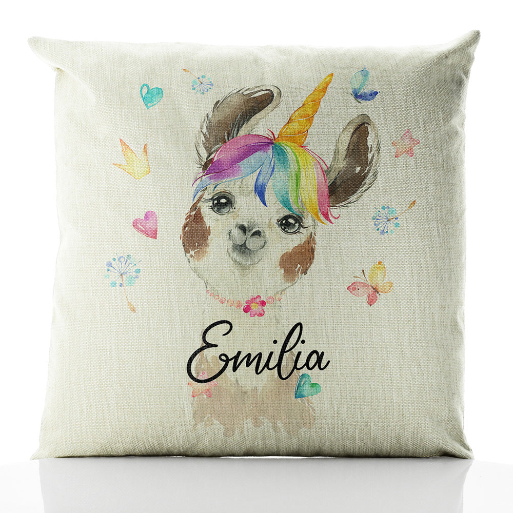 Personalised Alpaca Unicorn and Name Beige Linen Square Cushion
