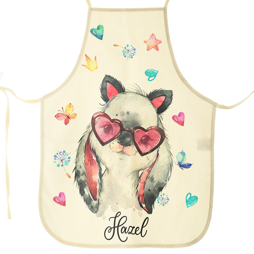 Personalised Rabbit with Cat Ears and Name Canvas Apron