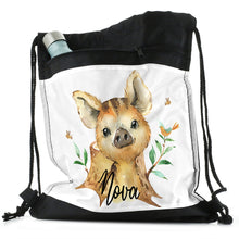 Load image into Gallery viewer, Personalised Piglet Bird and Bees and Name Black Drawstring Backpack