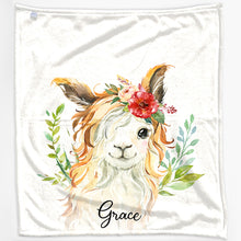 Load image into Gallery viewer, Personalised Goat Red Flower Hair and Name Baby Blanket