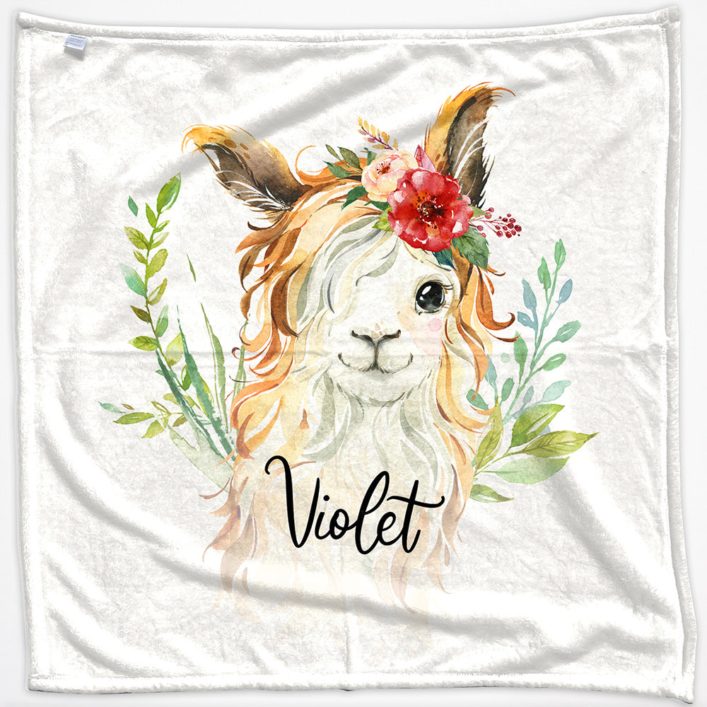 Personalised Goat Red Flower Hair and Name Baby Blanket