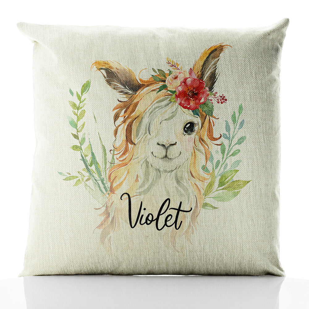 Personalised Goat Red Flower Hair and Name Beige Linen Square Cushion
