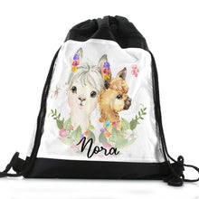 Load image into Gallery viewer, Personalised Alpacas Baubles and Name Black Drawstring Backpack