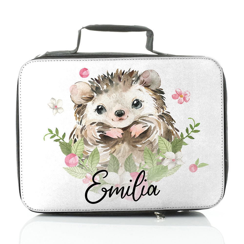 Personalised Hedgehog Flowers and Name Insulated Lunch Bag