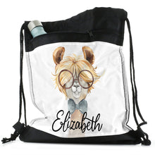 Load image into Gallery viewer, Personalised Alpaca Bow Tie and Name Black Drawstring Backpack