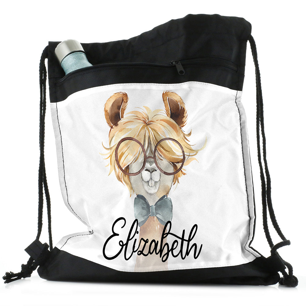 Personalised Alpaca Bow Tie and Name Black Drawstring Backpack
