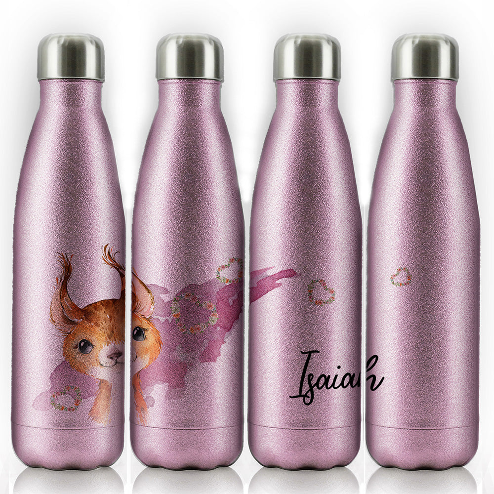Personalised Red squirrel Hearts and Name Pink Glitter Cola Bottle