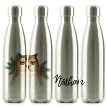 Load image into Gallery viewer, Personalised Brown Owl Pine Tree and Name Chrome/Silver Cola Bottle