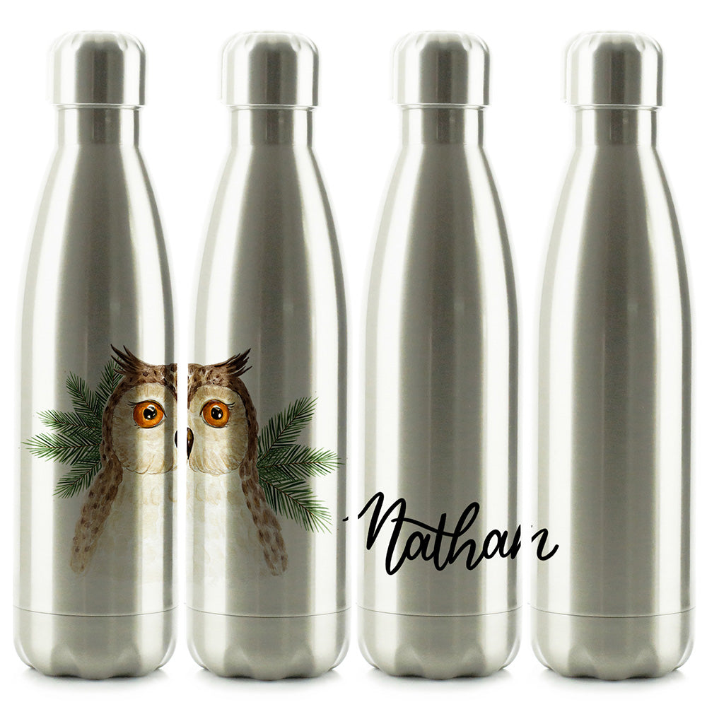 Personalised Brown Owl Pine Tree and Name Chrome/Silver Cola Bottle