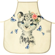 Load image into Gallery viewer, Personalised Leopard Butterflies and Name Canvas Apron