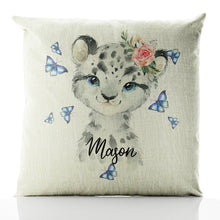 Load image into Gallery viewer, Personalised Leopard Butterflies and Name Beige Linen Square Cushion