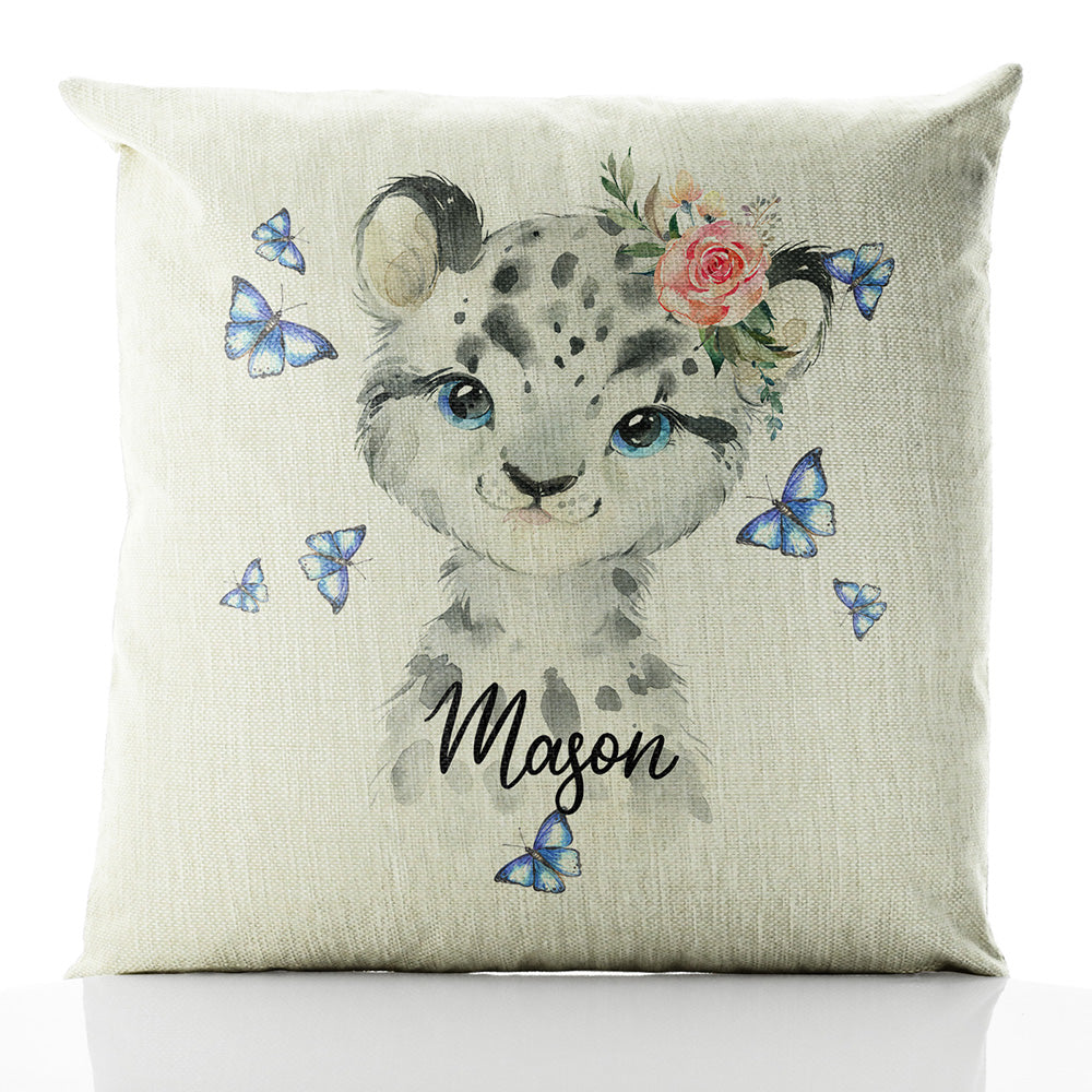 Personalised Leopard Butterflies and Name Beige Linen Square Cushion
