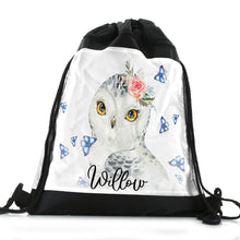 Load image into Gallery viewer, Personalised Owl Blue Butterfly and Name Black Drawstring Backpack