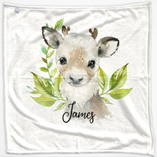 Load image into Gallery viewer, Personalised Reindeer Green Leaf and Name Baby Blanket