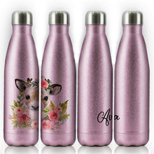 Load image into Gallery viewer, Personalised Reindeer Pink Glitter Flower and Name Pink Glitter Cola Bottle