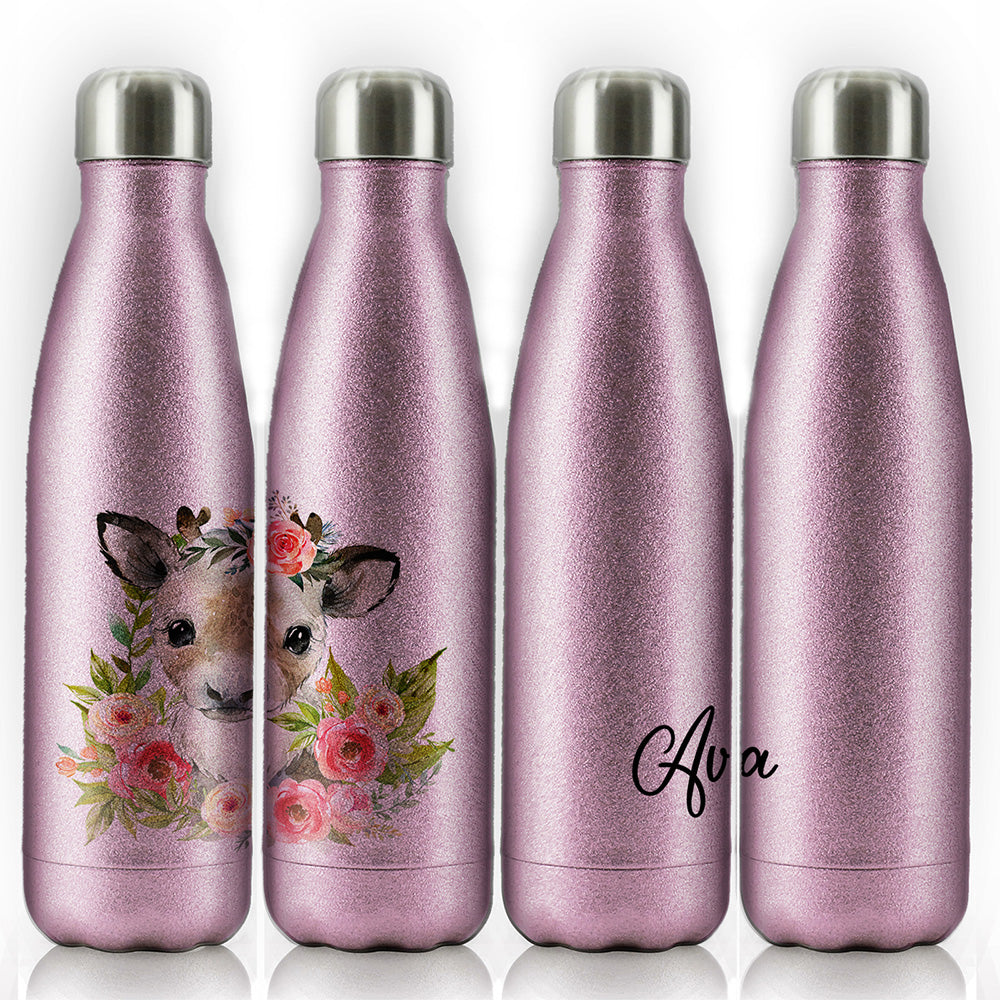 Personalised Reindeer Pink Glitter Flower and Name Pink Glitter Cola Bottle