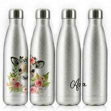 Load image into Gallery viewer, Personalised Reindeer Pink Glitter Flower and Name Silver Glitter Cola Bottle