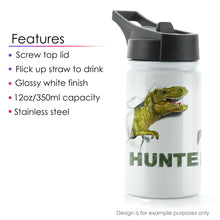 Load image into Gallery viewer, Personalised Giraffe Bow Flowers and Name White Sports Flask